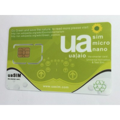 ua SIM - Universal Activation & Test SIM iPhone 3G / 3GS / 4 / 4S / 5 / 5C / 5S / 5SE / 6 / 6 Plus / 6S / 6S Plus / 7 / 7 Plus Compatible