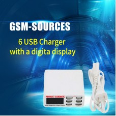 6 PORT USB CHARGER WITH DIGTIAL DISPLAY